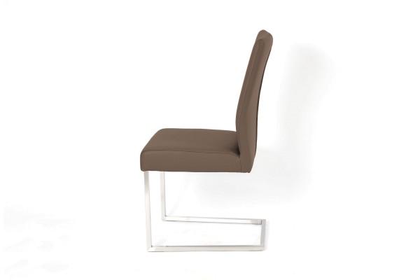 Toulouse Freischwinger Stuhl aus Toledo Leder in Farbe braun und Edelstahl Füßen