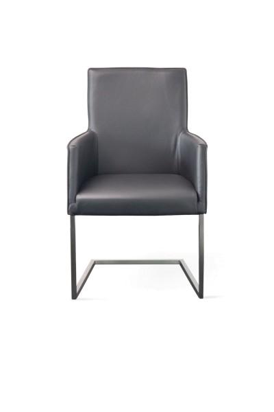 Casablanca Freischwinger Sessel aus Toledo Leder in Farbe anthrazit und Edelstahl Füßen