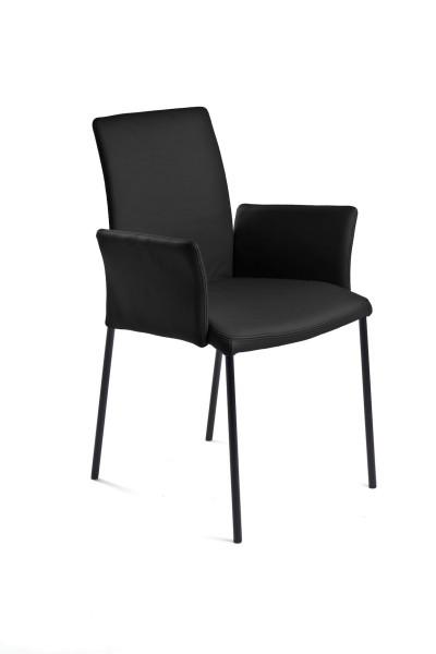 Alhambra Designer Sessel aus Toledo Leder in Farbe schwarz und Edelstahl Füßen in schwarz