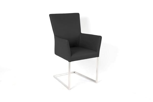 Toulouse Freischwinger Stuhl aus Toledo Leder in Farbe schwarz und Edelstahl Füßen