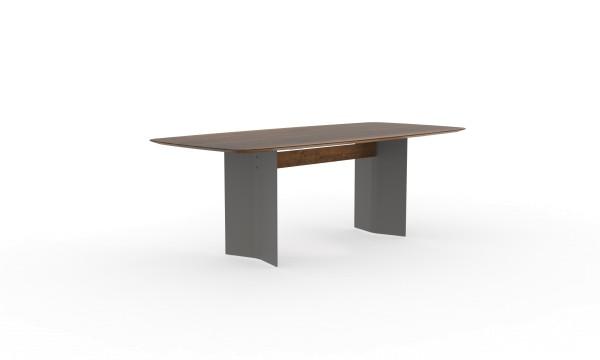 Esstisch Dive mit bootsförmiger Tischplatte aus nachhaltigen Massivholz
