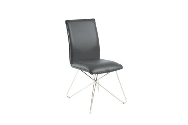 Milano Designer Stuhl aus Toledo Leder in Farbe anthrazit und Edelstahl Füßen